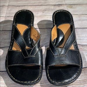 BORN Wedge Leather Sandals Size 8 BLack